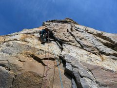 Rock Climbing Photo: Sarah leading Pitch 4. She took the direct start w...