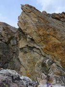 Rock Climbing Photo: Looking at the 5.9+ option for Pitch 6. This opton...