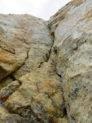 Rock Climbing Photo: Looking up at the direct 5.9 corner of Pitch 5. Th...