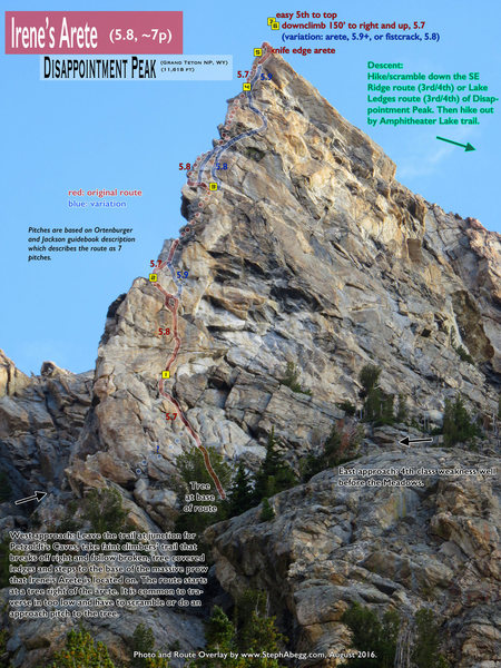 Rock Climbing Photo: Route Overlay for Irene's Arete.