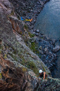 Rock Climbing Photo: Griff making his way up P2 to the top of the pinna...