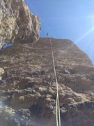 The glorious Pitch 3! Get out on the arete near the top quarter of the pitch and enjoy the exposure. Super fun!
