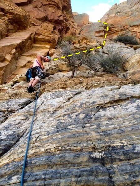 Beginning Pitch one on the north rib of Window Blind Peak. Climb toward the notch on the right, set up first trad anchor. Everything on this climb is hard to protect. Soft rock and loose rock is the hardest part.  (We only did two pitches)