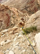 Rock Climbing Photo: Brittany fallowing on pitch two. The notch where p...