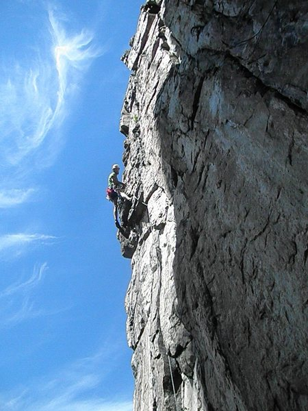 Looking up to belay anchors on Marshall's Madness to the second pitch, Crack of Dawn