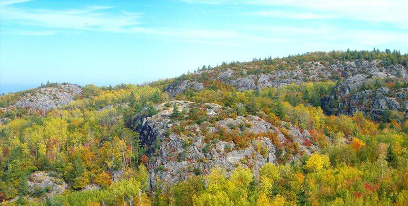 Rock Climbing Photo: Superior Amphitheater, Lake Superior is 2 miles aw...