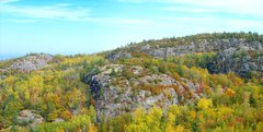 Rock Climbing Photo: Superior Amphitheater, Lake Superior is 2 miles aw...