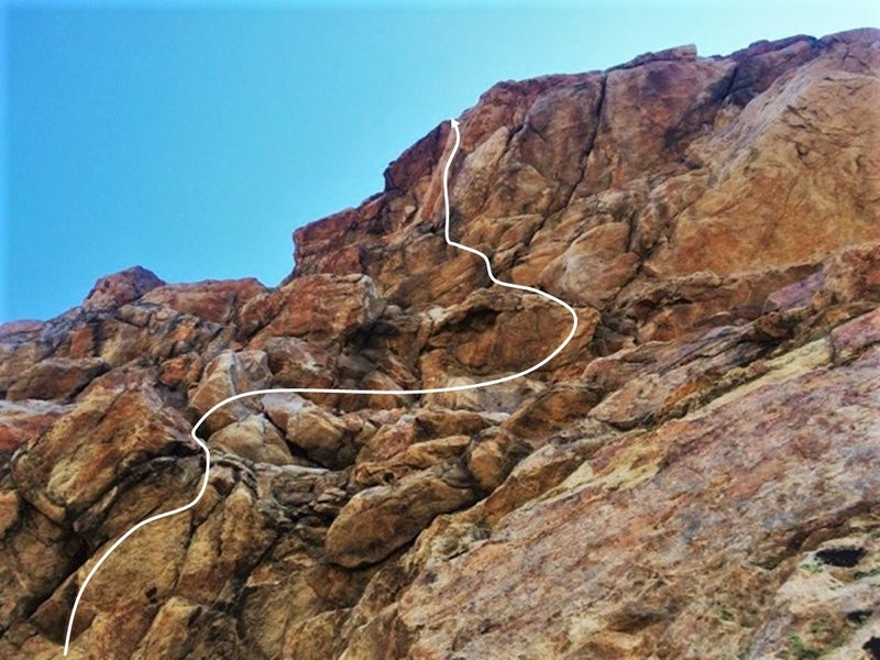 "The line through the crux pitch of ""Pterodactyl."""