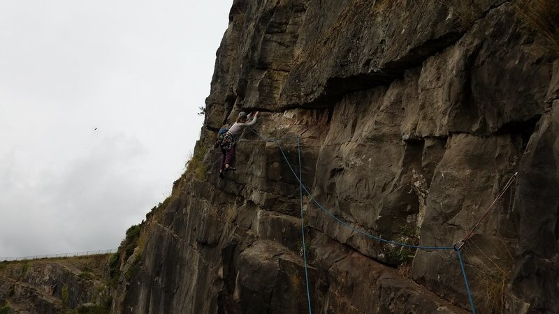Rock Climbing Photo: Jo cruising the huge traverse pitch