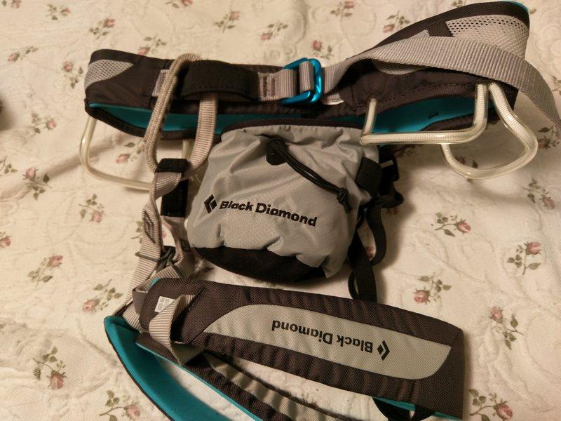 Rock Climbing Photo: BD Primrose harness and  BD chalk bag