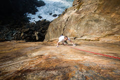 Rock Climbing Photo: Ben balancing up the Tombstone Slab. Sweet super l...