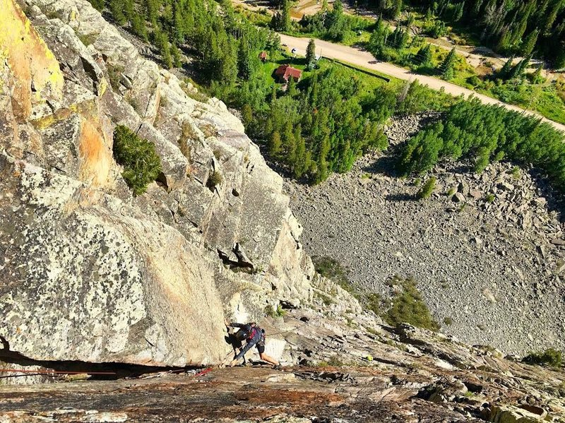 Rock Climbing Photo: Nick cleaning up shop on the final OW pitch of Hot...
