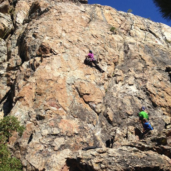My wife Christine on a nice, well bolted 5.6-7ish two pitch sport route on the South face of Castle Rock.  You need a 60m rope and 12 draws.  Mussy hook anchors.  Great views of Lake Tahoe.  GPS lat 38.59&@POUND@39@SEMICOLON@21&quot@SEMICOLON@N  lon 119.54&@POUND@39@SEMICOLON@31W