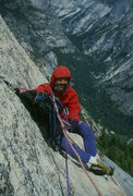 Rock Climbing Photo: Hanging belay high up on Crest Jewel, North Dome (...