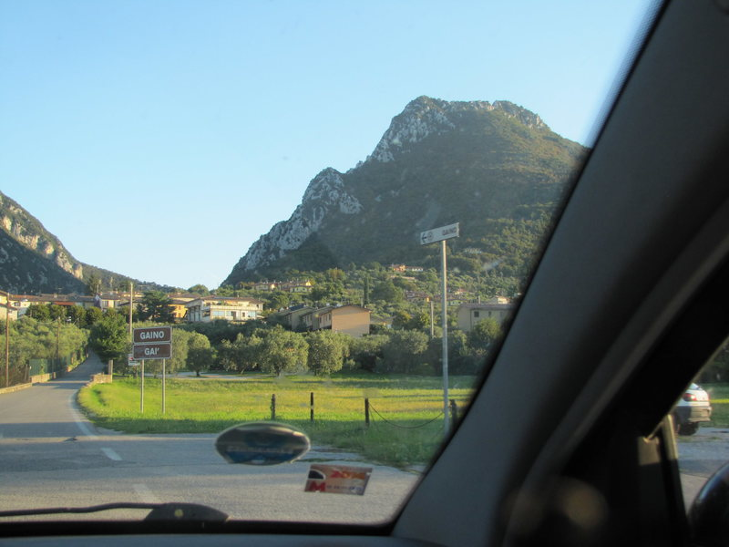 Mt. Castello with the village Gaino at the foot. The crag is just left of center.