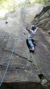 Rock Climbing Photo: Akira putting the knee in Rumney.
