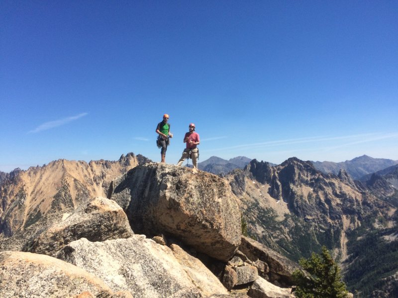 Two buddies on summit of South Early Winter Spire