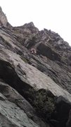 Rock Climbing Photo: Small, juggy roof.