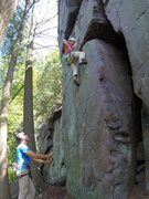 Rock Climbing Photo: The first opportunity for protection, after the cr...