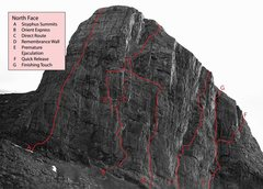 Rock Climbing Photo: Approximate location of routes. Thanks Chris Perry...