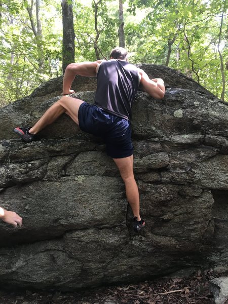 Finish with heel hook (not pictured - right hand to middle hold, move right toe to tiny flake on underside of left wall, right hand up to top hold, heel hook on left outcropping)