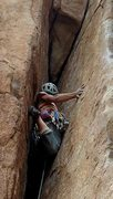 Rock Climbing Photo: Chicken leggin'. Julie Gauff demonstrating an ...