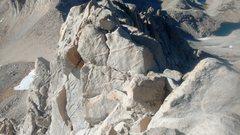 Rock Climbing Photo: Traversing the ridge near the end of route.