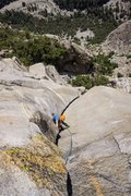 Rock Climbing Photo: End of the offwidth pitch. Only the top 1/3 can be...