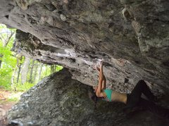 Rock Climbing Photo: Audrey Scott hanging onto the perfect pinches of &...