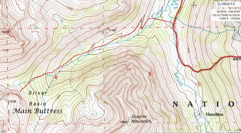 Rock Climbing Photo: The red line shows the path (on and off trail) to ...