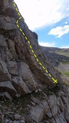 Rock Climbing Photo: The route starts at the slab marked with an X. You...