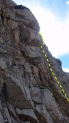 Rock Climbing Photo: The belay ledge for the end of the first pitch can...
