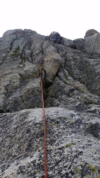 Tony Beyer leading the crux first pitch of Nate's Fate during its first ascent.