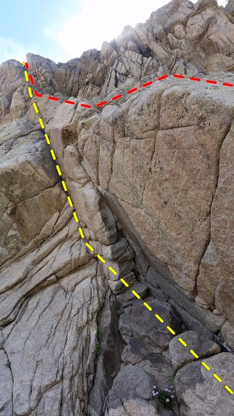Rock Climbing Photo: The direct start of Hon Solo is the yellow line. I...