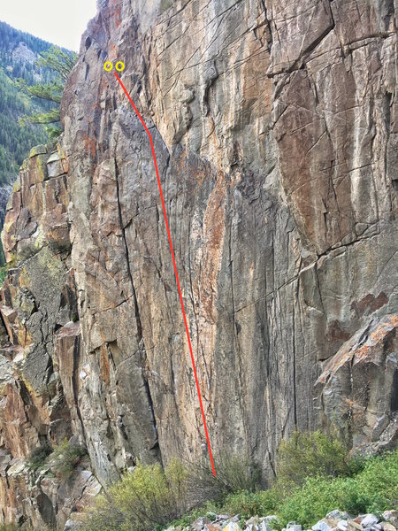 Rock Climbing Photo: This photo shows the general line of travel (marke...