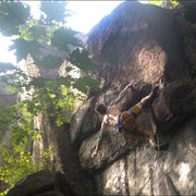 Rock Climbing Photo: Clipping the second bolt as the tough stuff begins