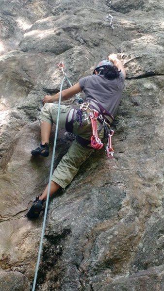 Rock Climbing Photo: The tricky start, and Regina's pretty short.