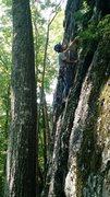Rock Climbing Photo: Akira starting up next to the tree.