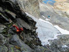 Rock Climbing Photo: Neil Kauffman on the East Corner of Banner Peak II...