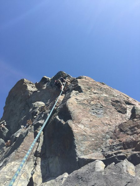 Rock Climbing Photo: 5.8 crack left of red Slab