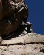 Rock Climbing Photo: Julie Gauff airing it out at the end of the roof o...