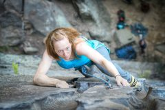 Rock Climbing Photo: Jen almost at the top of Eureka, a classic 5.6 @ G...