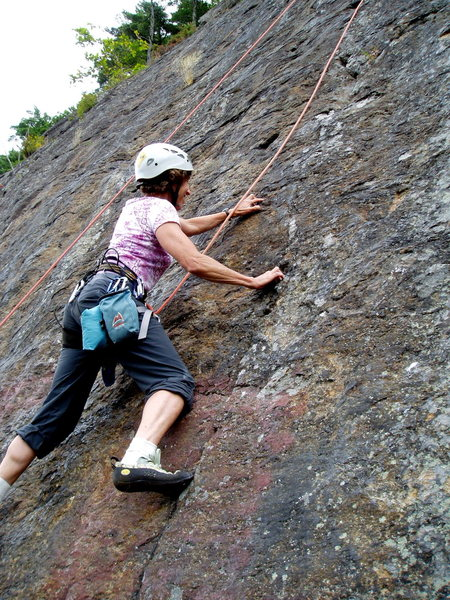 "Rock Climbing Photo: S. Matz TR-ing ""4th of July"" She approac..."