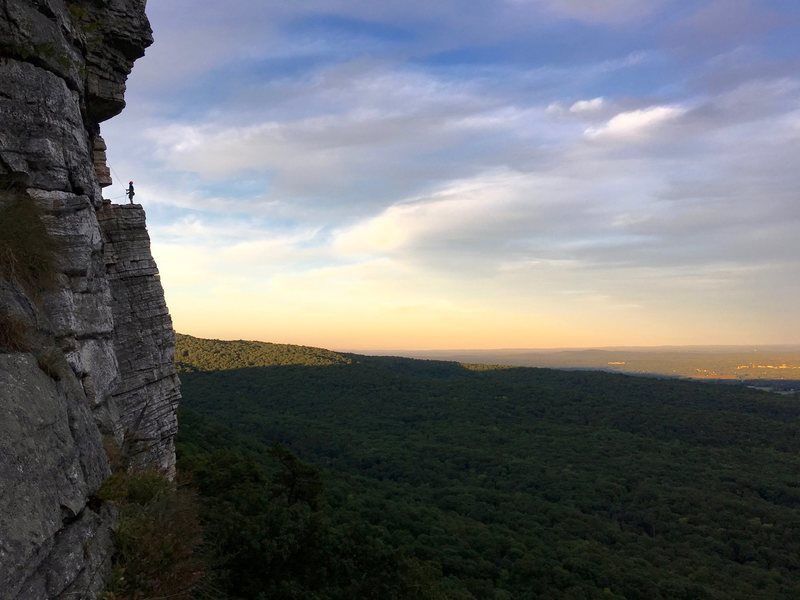 Belayer on the GT ledge, taken on rappel from The Last Will Be First