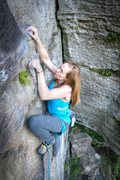 Rock Climbing Photo: Jen at the top of the classic Eureka @ Global Vill...