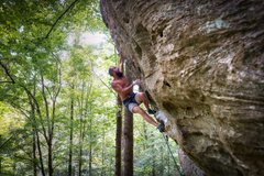 Rock Climbing Photo: Joe tackling the overhang on Johnny B. Good @ PMRP...