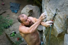 "Rock Climbing Photo: Joe with the strong clipping grip on ""A Wave ..."