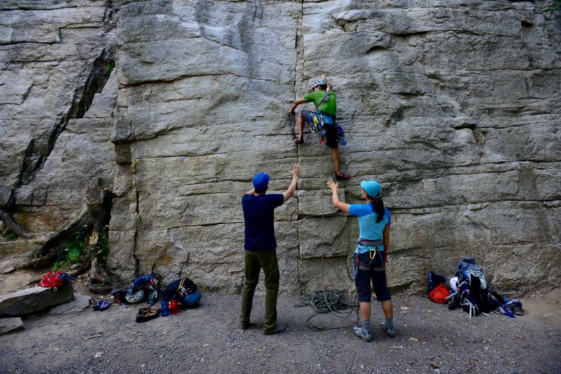 Rock Climbing Photo: Placing a #0.3 C4 for the first piece.