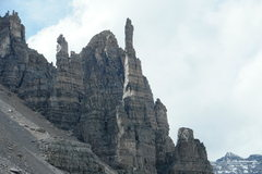 Rock Climbing Photo: Grand sentinel spire with climbers near top of car...