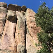 Rock Climbing Photo: Mike passing the squeeze near the top of the first...